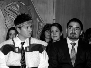 Drs. Toma Timothy (left) and Benjamin Matthew (right), Aboriginal graduates from the Faculty of Medicine, at the spring 2009 First Nations Longhouse Graduation Celebration. Photo by Janis Franklin.