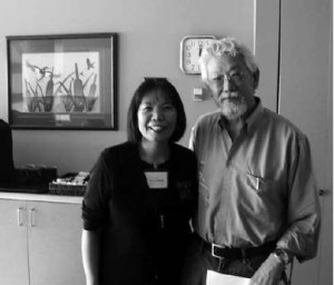 """Drs. Jo-ann Archibald and David Suzuki at the """"Teaching Environmental Sustainability"""" gathering held on March 5, 2009. The Faculty of Education's Community of Inquiry for Teacher Education (CITE) and the Indigenous Education Institute of Canada sponsored this special guest lecture by Dr. Suzuki. Photo by William G. Lindsay."""